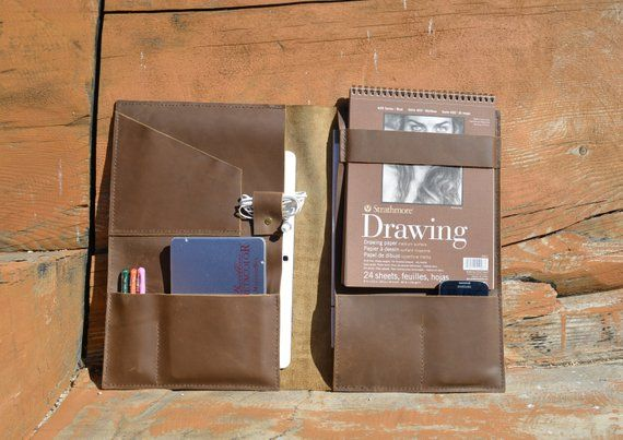Leather Portfolio Folder, Artist Drawing Book Case, Multi