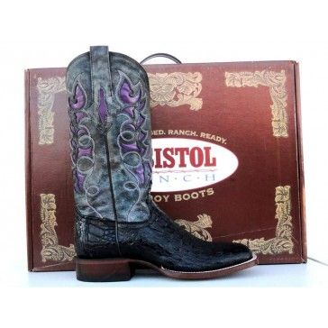 043596e5063 Resistol Ranch Womens Black Caiman Gator Squire Toe Cowgirl Boots ...