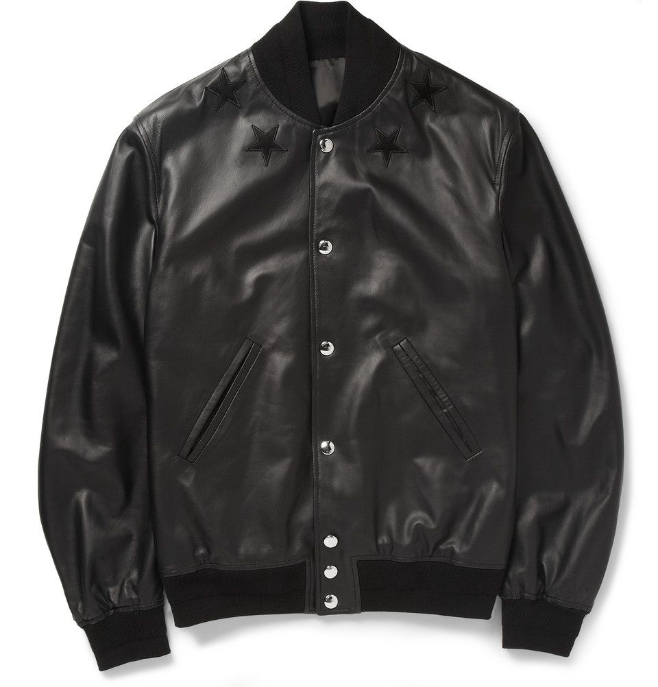 Givenchy - Leather Embroided Star Baseball Jacket | MR PORTER ...