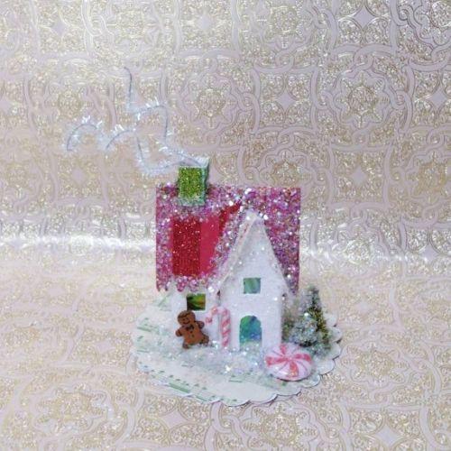 Vintage-Christmas-Putz-House-Bottle-Brush-Tree-Gingerbread-Man-Handmade