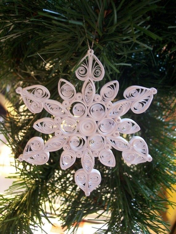 White as Snow Holiday Quilled Snowflake by joanscrafts on Etsy, $9.00