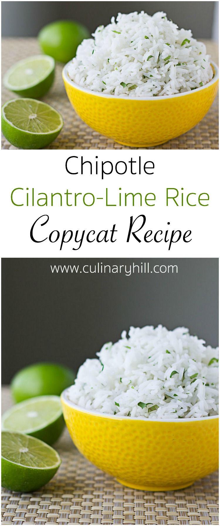 Chipotle Cilantro Lime Rice Recipe Copycat Culinary Hill Recipe Recipes Food Lime Rice Recipes