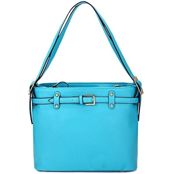 Belt Buckle Solid Color Shoulder Bag ($27) ❤ liked on Polyvore featuring bags, handbags, shoulder bags, blue handbags, blue purse y blue shoulder bag