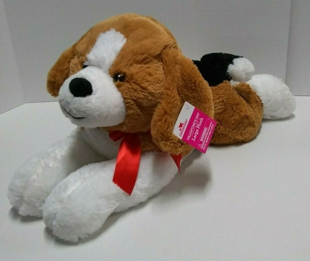 Large Beagle Dog Plush Valentines Red Bow 24 Stuffed Toy Laying