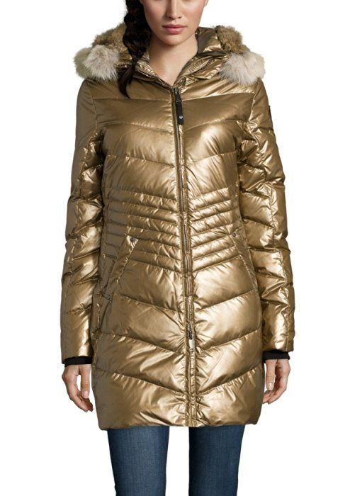 Moncler Moncler 'Bellette' Lacquer Down Coat with Genuine