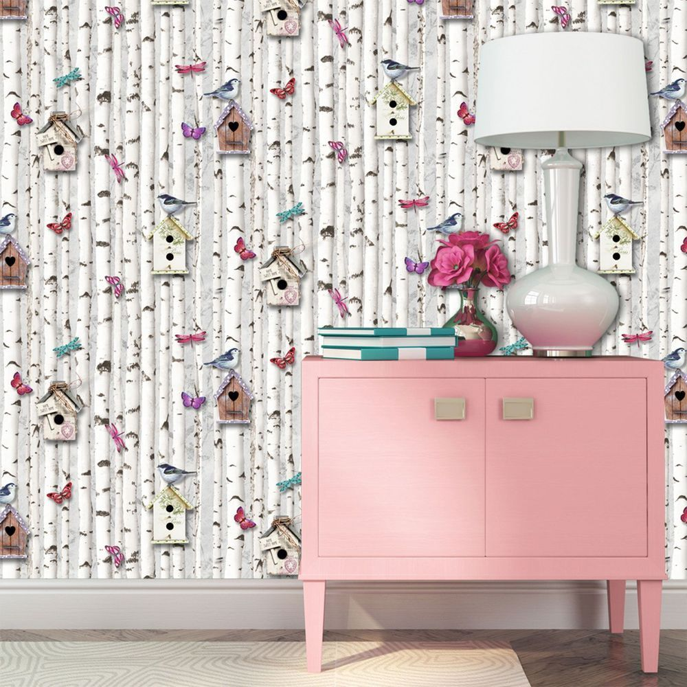 Bird Boxes Wallpaper By Muriva Silver Birch Multi Butterflies 102549