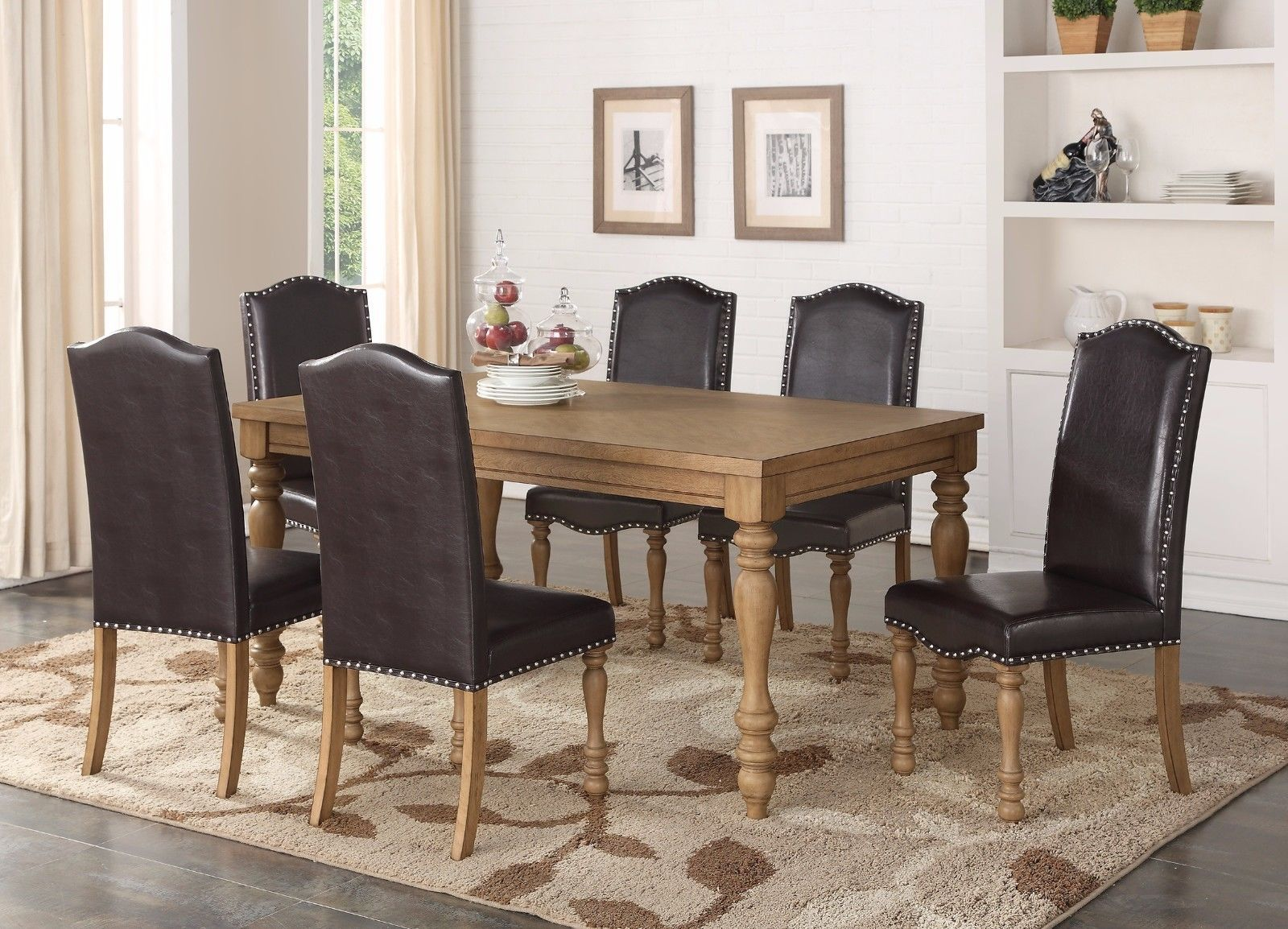 contemporary dark brown faux leather chairs 7pc set wooden