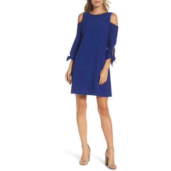 Petite Women's Eliza J Cold Shoulder Shift Dress ($128) ❤ liked on Polyvore featuring dresses, petite, royal, blue dress, eliza j, cutout shoulder dresses, blue shift dress and open shoulder dress