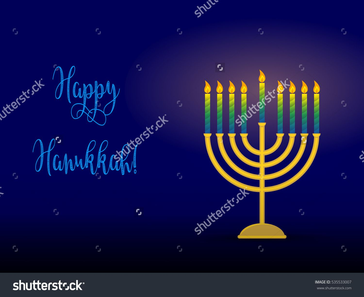 Greeting Card For Jewish Holiday Of Hanukkah Hanukkah Menorah