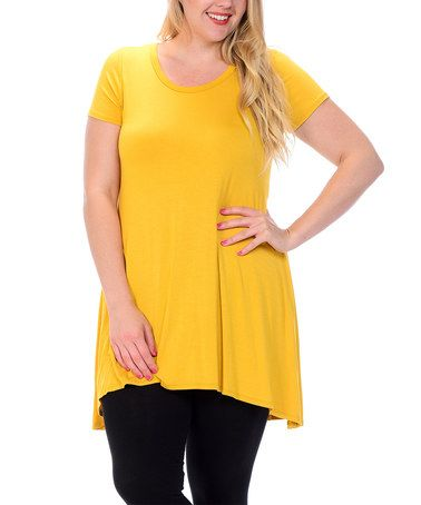 Another great find on #zulily! Mustard Shark Bite Scoop Neck Tunic - Plus #zulilyfinds