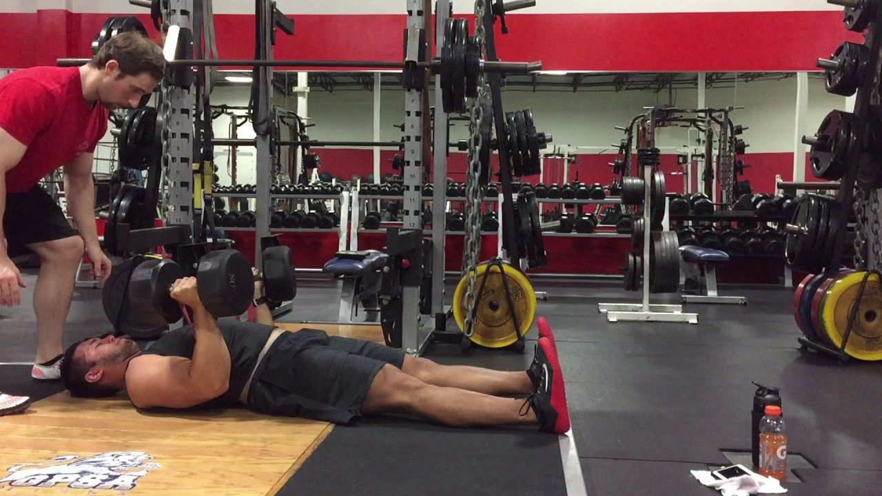 Dumbbell Floor Press with Band Resistance