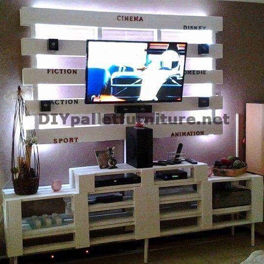 Muebles de palets mueble para el televisor de palets muebles de palets - Mueble salon palets ...