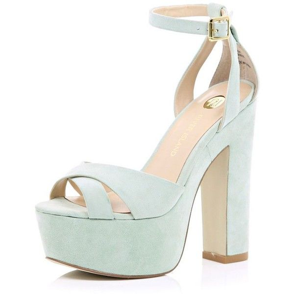 8940d9f25a4 River Island Light green suede block heel sandals (€27) ❤ liked on Polyvore  featuring shoes