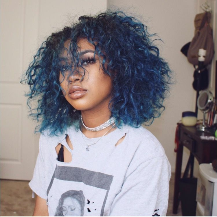 Dusty Blue Hair Dyed Natural Hair Curly Hair Styles Natural