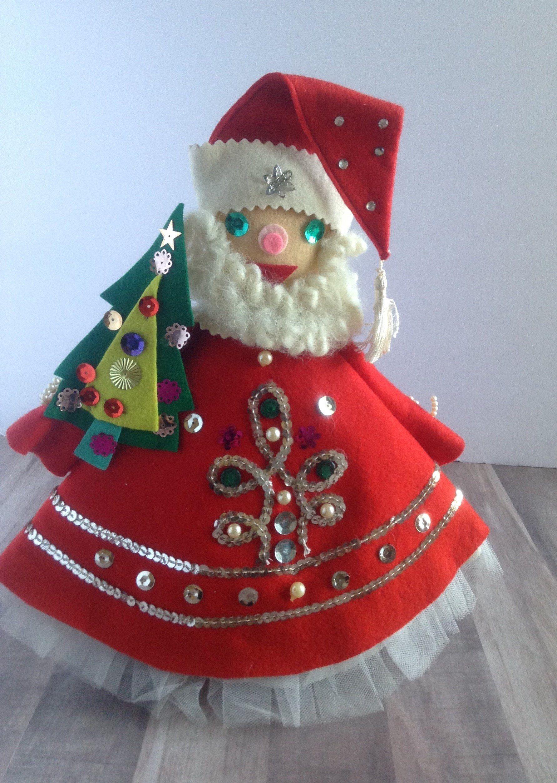 bfe79bcd2bd096 Vintage handmade felt Santa Claus Christmas tree topper,