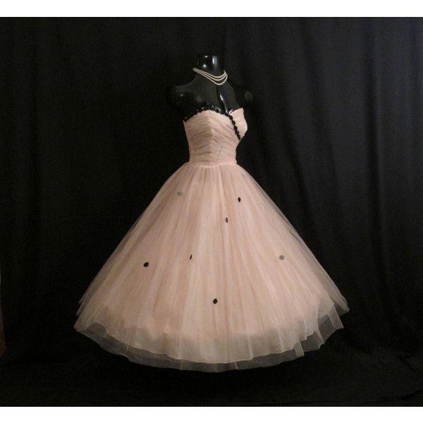 Vintage 1950's 50s Strapless Pink Blush Black Tulle