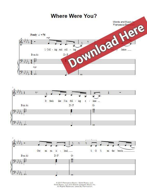 Francesc Battistelli Where Were You Sheet Music Piano Notes Chords