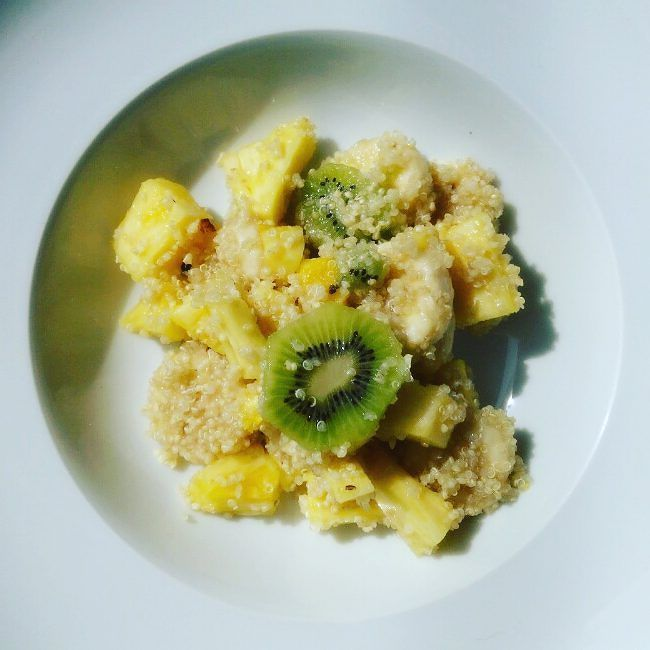 Vegan breakfast - Sweet Quinoa Salad - Fruit salad made of pineapple pieces banana ank kiwi slices mixed with quinoa flavored with agave sirup - delicious power treat for champions  #vegan #veganeats #vegancook #veganfoodporn #veganfood #foodtube #foodblogger #foodporn #veganism #veganlifestyle #foodspotting #foodismedicine #homecooking #cooking #plantbased #organicfood #vegetarian #easy2bvegan #vegans #veggies #crueltyfree #foodblog #weightloss #rawfood #rawvegan #fruits #vegetables…