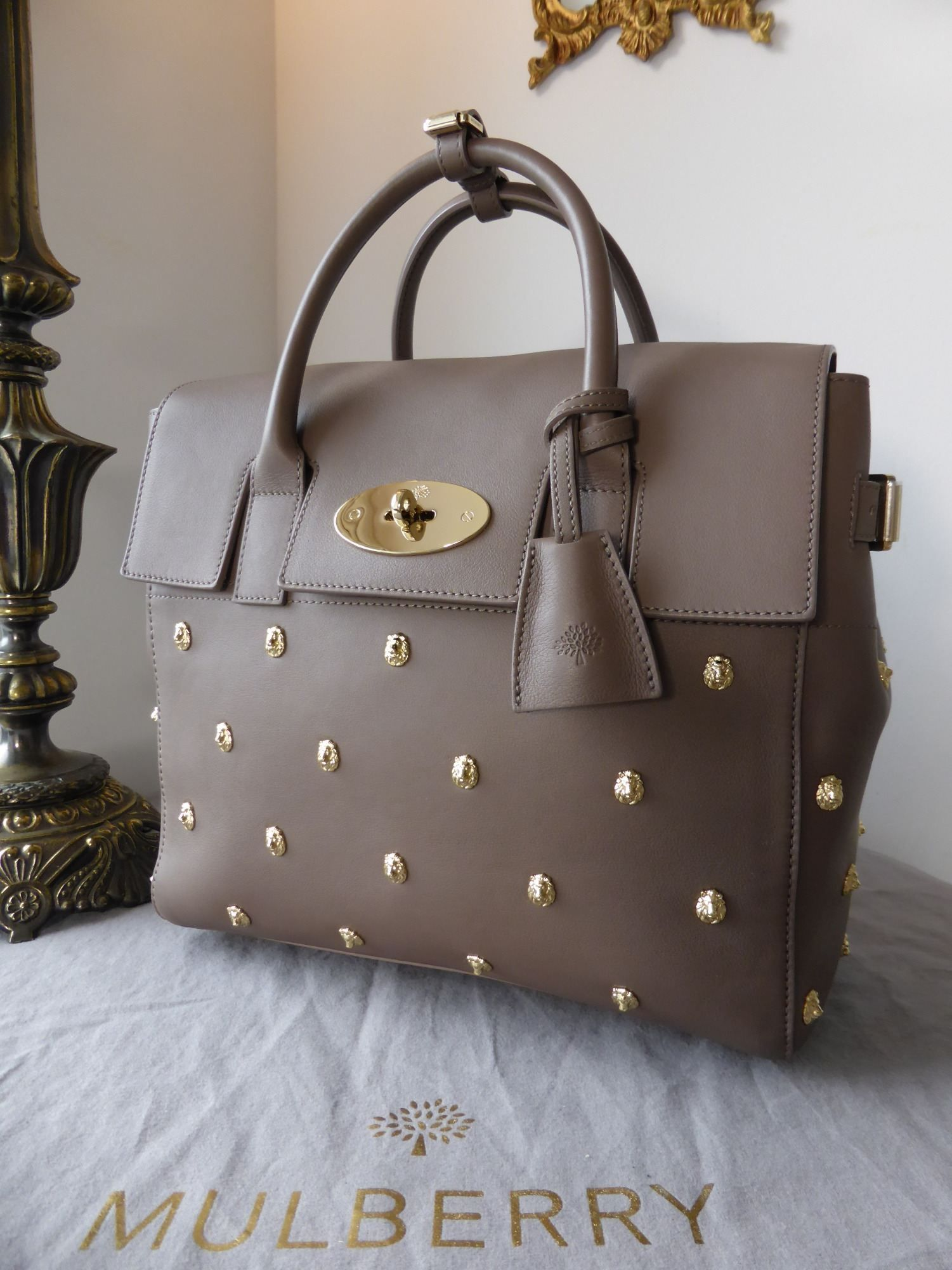 f537bfe3652 Mulberry Cara Delevingne (Medium) with Lion Rivets in Taupe Silky Classic  Calf with Samorga Liner - SOLD
