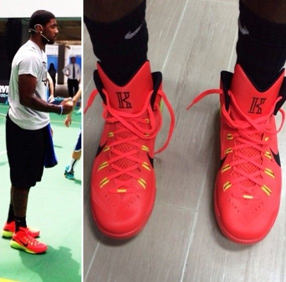 a1be035326ae Kyrie Irving in Red October Yeezy 2 and  Nike  Hyperdunk 2014 at Nike Hong  Kong Event