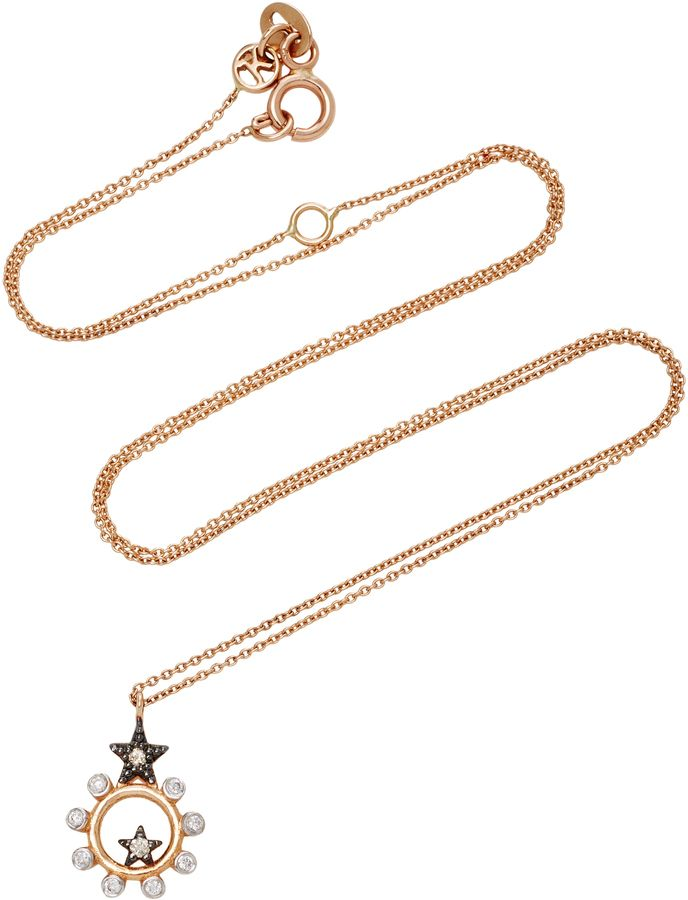 Kismet by Milka Eclectic White & Champagne Diamond Star Necklace QCyvEGp