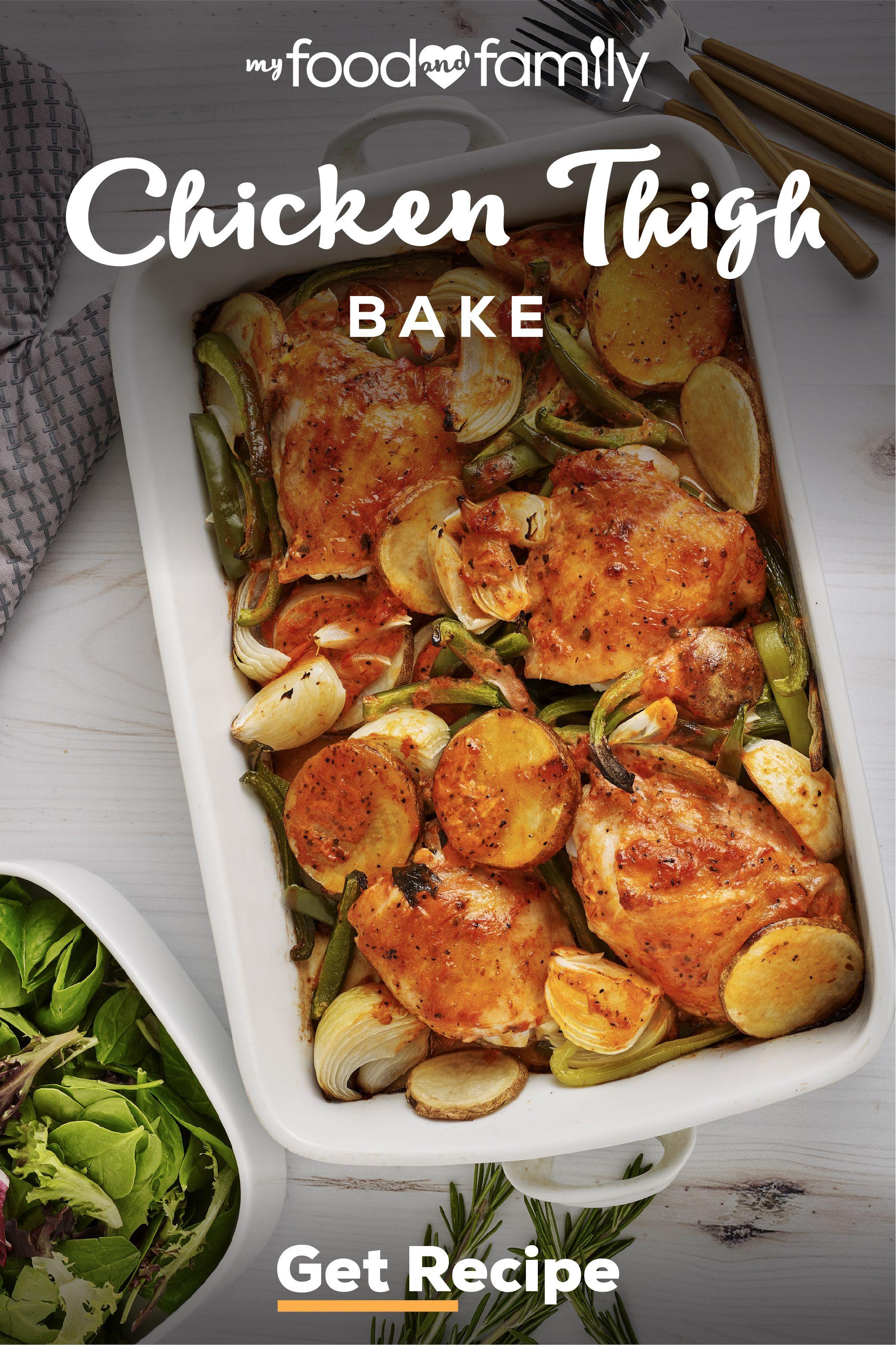 Chicken Thigh Bake Recipe Health Dinner Recipes Easy Casserole Recipes Easy Chicken Dinners