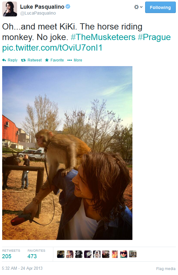 Luke Pasqualino & a horse riding monkey... Day made! <3 Is it too much to hope the little cutie will show up in series 2? The monkey too of course! lol :D