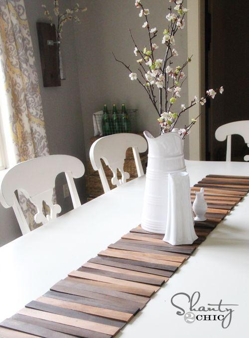 Wood Shim Table Runner Diy Table Runner Diy Wooden Crafts Diy