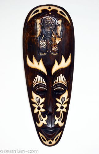 AFRICAN STYLE ELEPHANT WOODEN MASK HAND CARVED WOOD WALL ART HOME DECOR M553