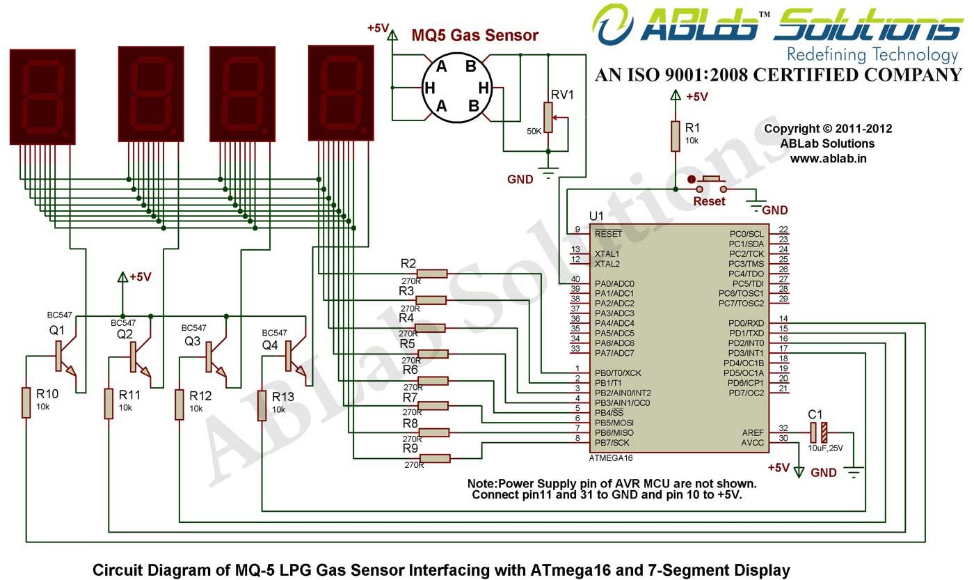 mq 5 lpg gas sensor interfacing with avr atmega16 microcontroller rh pinterest com