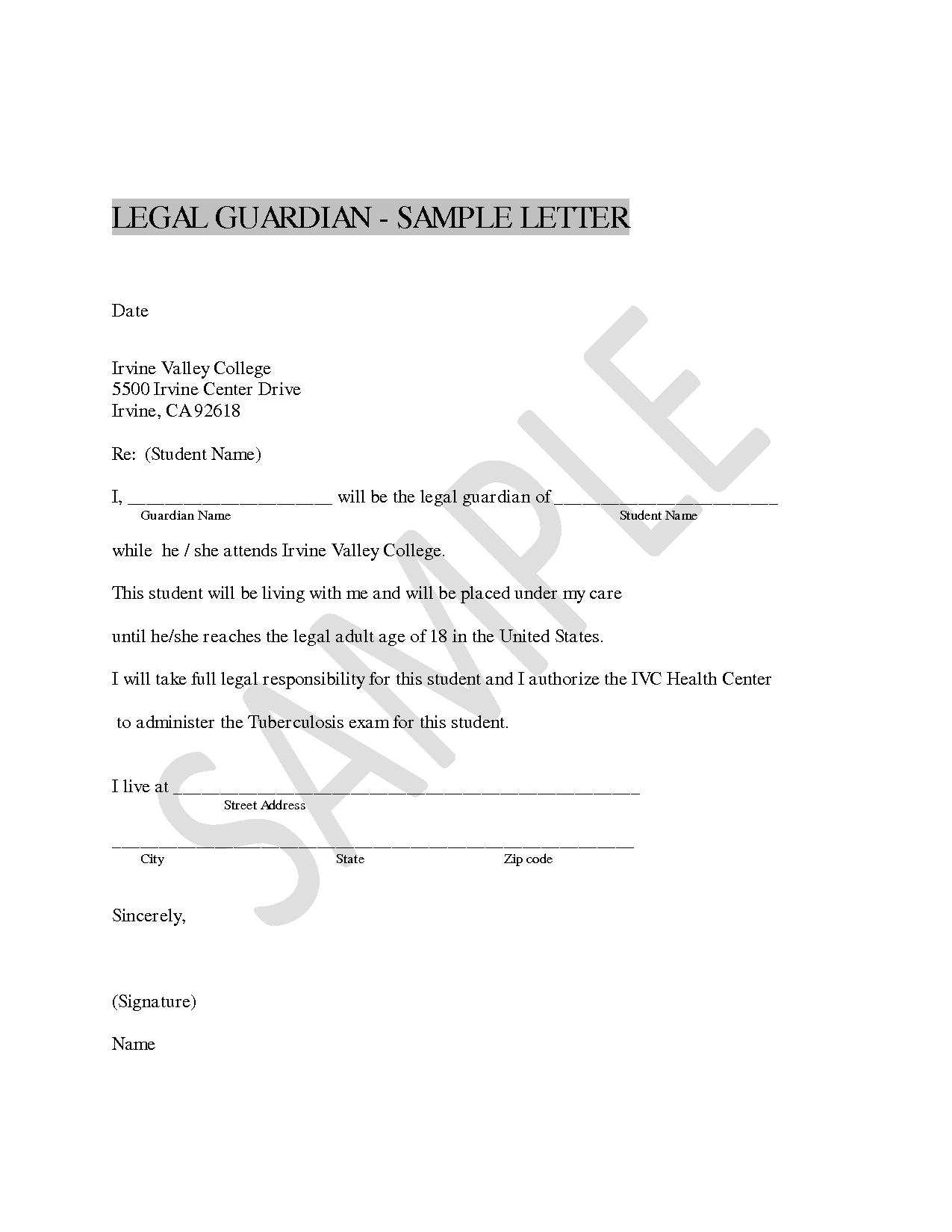 Authorization Letter Legal Guardian Guardianship Sample Affidavit