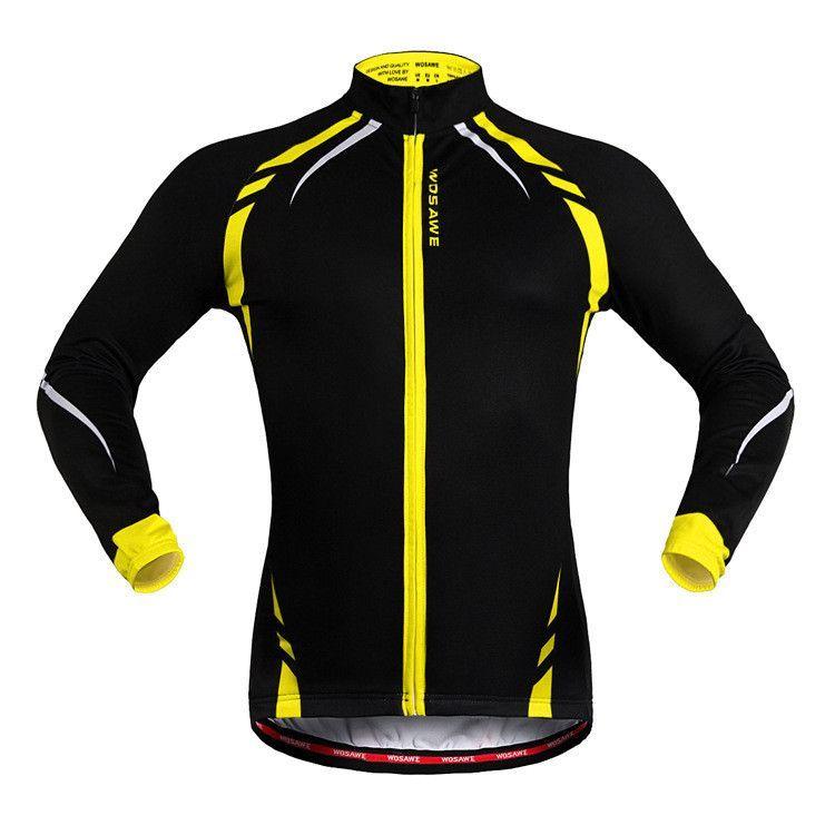 WOSAWE Thermal Warm Reflective Jersey Bike Bicycle Cycling Cycle Long  Sleeve Windcoat Jacket Cycling Men s Riding ccb8199b0