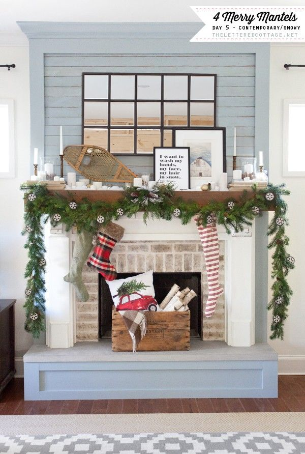 Merry Mantels 4 Contemporary Snowy Christmas The Lettered