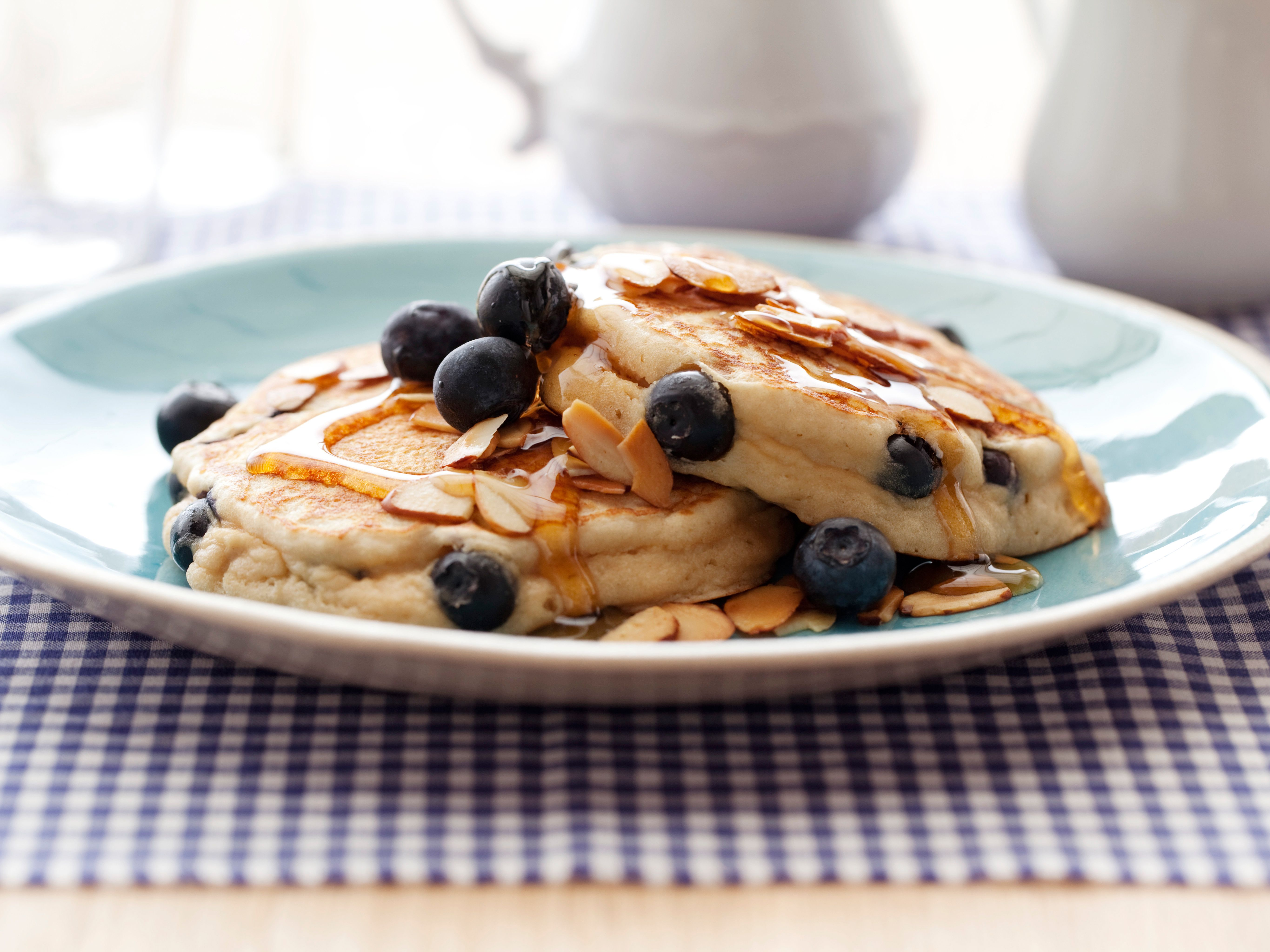 Blueberry-Almond Griddle Cakes from CookingChannelTV.com