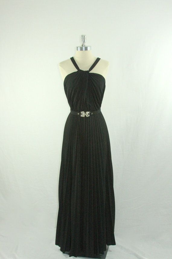 Vintage 1970s Halter Dress   Full Length Black  Cocktail Party Frock by VintageFrocksOfFancy