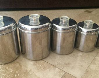 Vintage Revere Ware Stainless Steel 5 Canister Kitchen Storage Set, Retro,  Midcentury