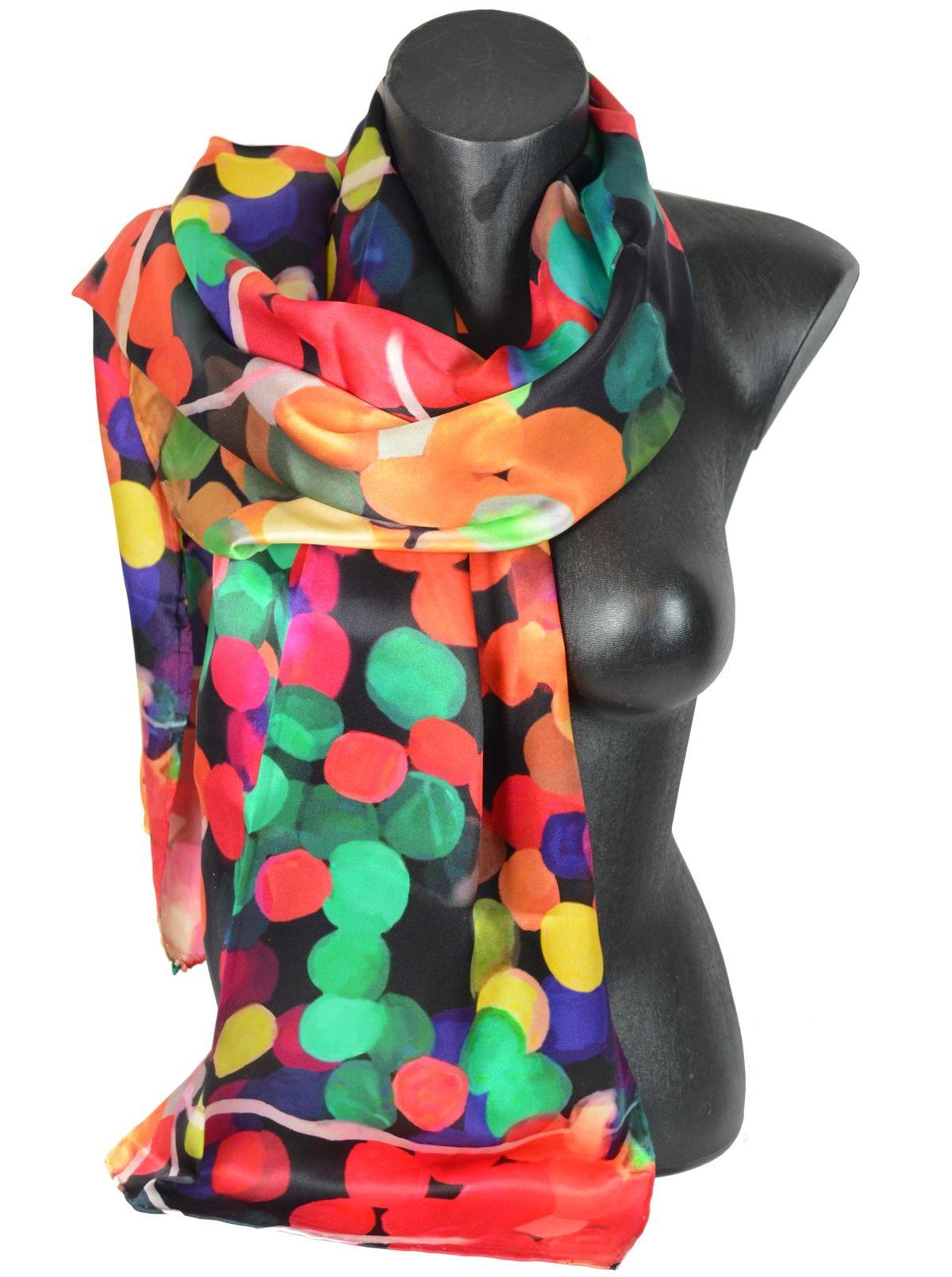 fa92f5c59dc0 Echarpe en soie gros pois multicolores www.echarpe-et-foulard.fr ...