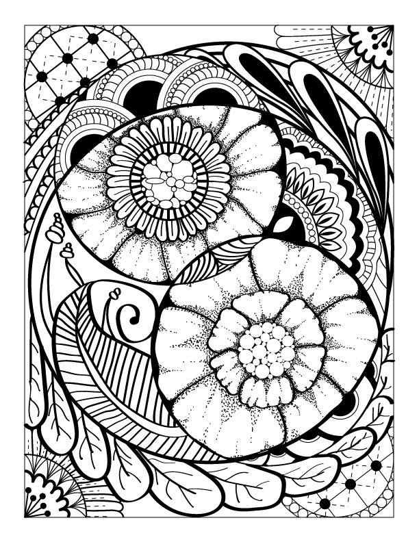 Abstract Flower and Shapes Advanced Coloring Page Digital Flores y - new advanced coloring pages pinterest