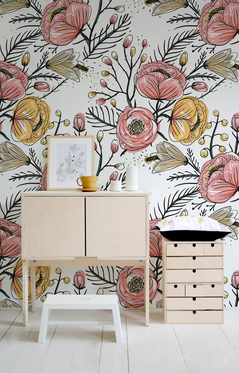 Removable Wallpaper, Boho Wall Mural, Peel and Stick