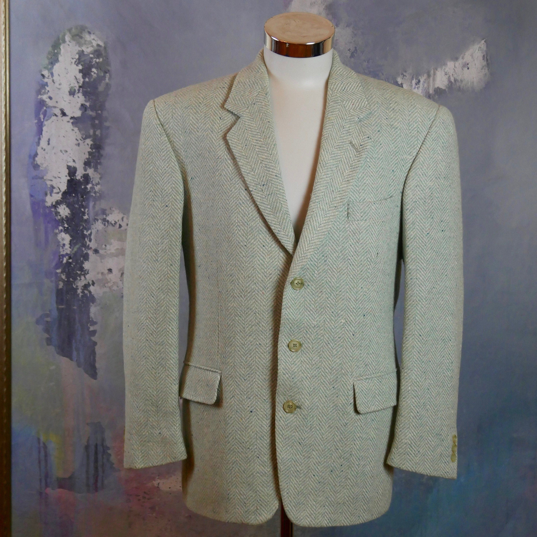 Light Turquoise Herringbone Tweed Blazer French Wool Blend Three Button Jacket Retro Sport Coat Size 44 Us Uk In 2020 Tweed Blazer Herringbone Tweed Blazer