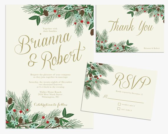 When Do You Order Wedding Invitations: Printable Winter Wedding Invitation Bundle By
