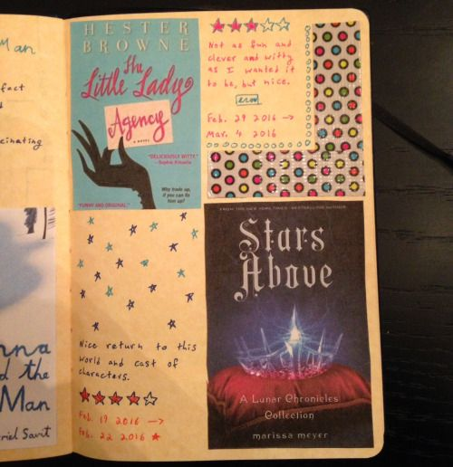 Another reading journal page– The Little Lady Agency and Stars Above