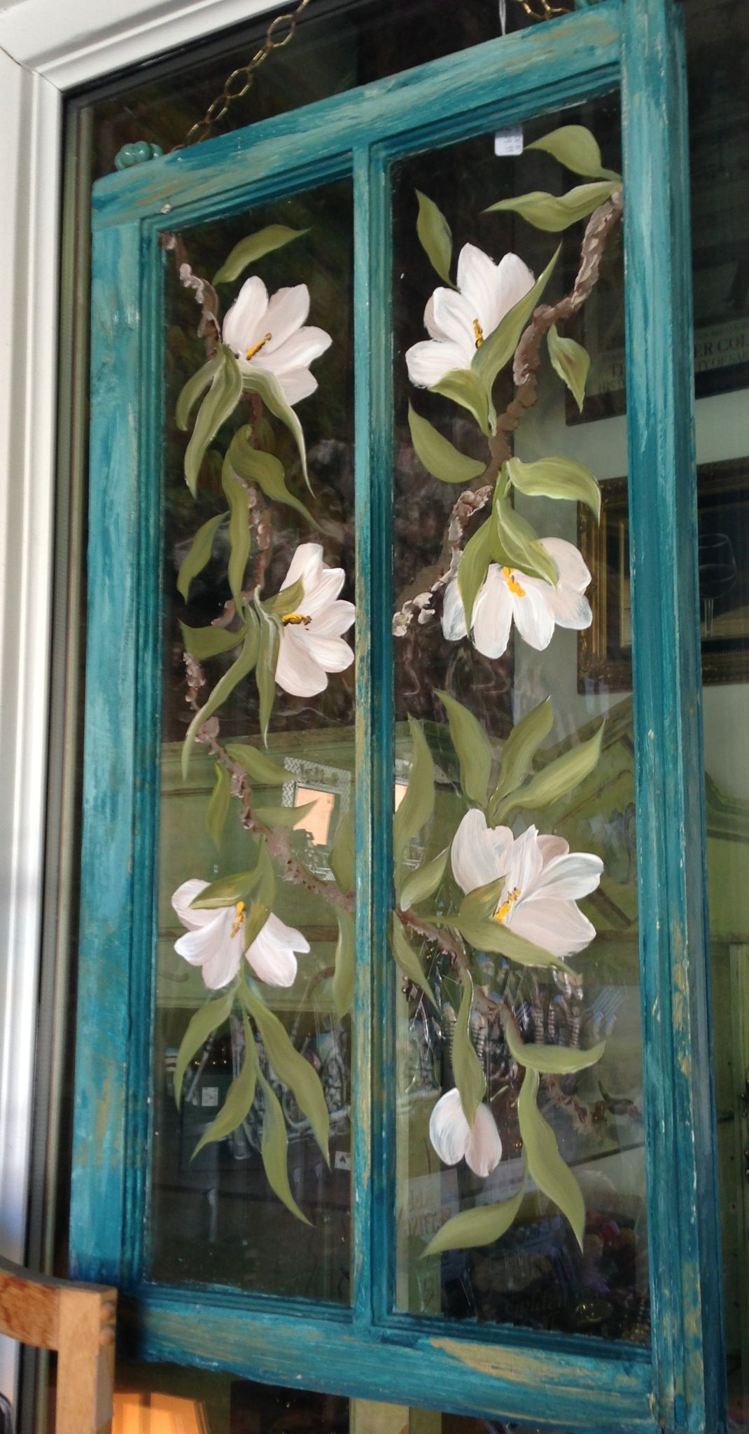Painted window hanging  Painting on glass windows, Window crafts