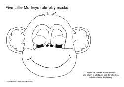 Five Little Monkeys role-play masks - black and white (SB8375) - SparkleBox