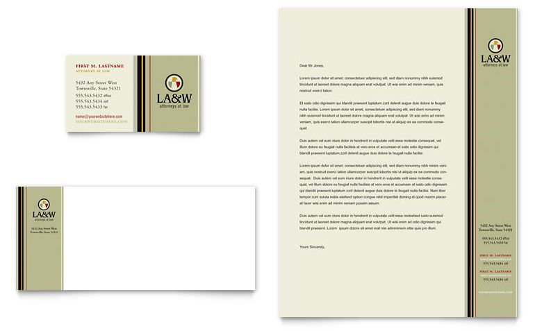 Lawyer  Law Firm Business Card  Letterhead Template  Word