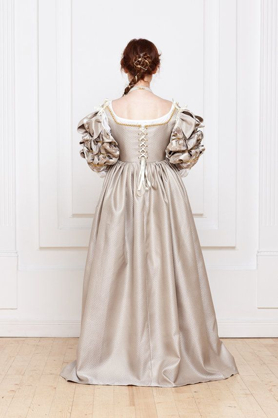 Renaissance Italian Beige With Golden Woman Dress 15th 16th