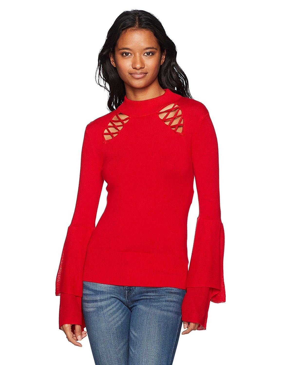 8130b9d70a Women s Mockneck Lace up Bell Sleeve Sweater - Red - CL1844HN3DN in ...