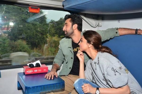 En Route To Delhi By Train Ranbir Deepika Sip On Some Coconut Water Film Promotion Bollywood Movies Ranbir Kapoor
