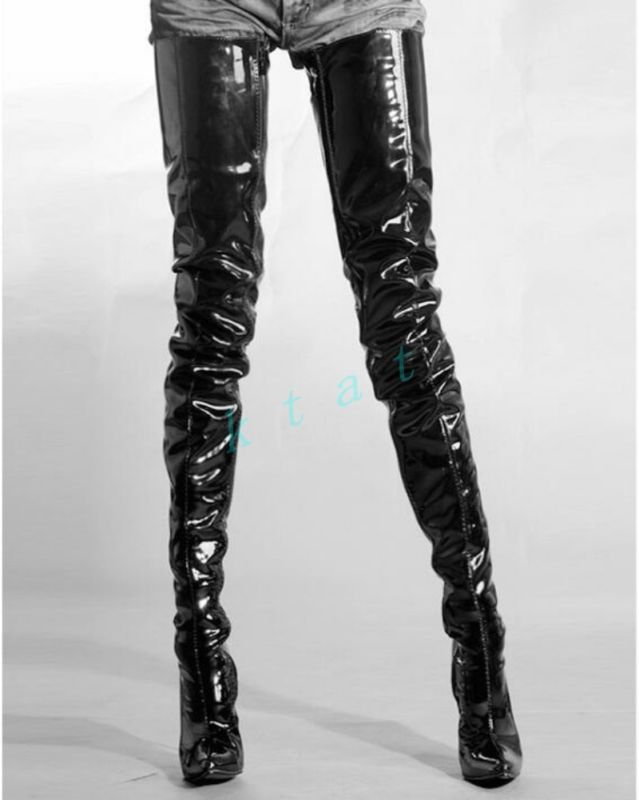 Womens Sexy Over The Knee Thigh High Boots Patent Leather Clubwear Shoes  Pumps e81abe90dd58