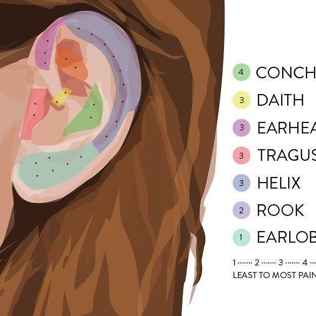 Ear piercings pain chart